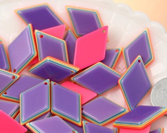 Resin Charms - 16mm Bright Striped Neon Rainbow Diamond Resin Charms or Cabochons - 10 pc set