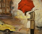 "Couple Art Print Wall Art In Love Couple Kissing Cityscape City Urban Couples Print Romance Romantic Umbrella Rainy ""A Hello Kiss"" - LeslieAllenFineArt"