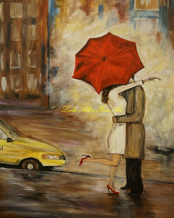 "Couple Art Print Wall Art In Love Couple Kissing Cityscape City Urban Couples Print Romance Romantic Umbrella Rainy ""A Hello Kiss"""
