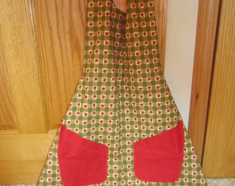 Reversible Apron - Apples And Cherries, Scalloped Bottom