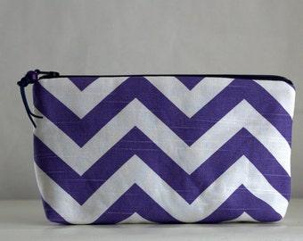Purple Chevron Wide Padded Zipper Pouch Gadget Case Cosmetics Bag - READY TO SHIP