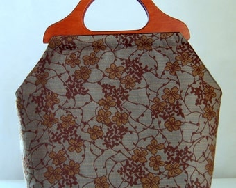 Botanical Trellis Large Craft Project Tote/ Knitting Tote Bag - READY TO SHIP