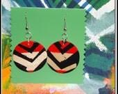hand painted folk art wooden geometric chevron  earrings
