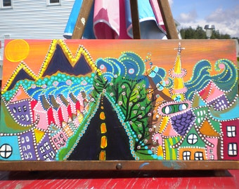 original acrylic painting by Maine artist mari Ward folk art village by the sea