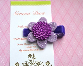 Shades of Purple Felt Flower Clip with Mum Button Center