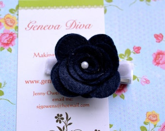 Navy Blue Felt Rosette Hairclip