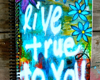 """Live True To You 5.5""""x8"""" Lined Paper Notebook, Journal, Stationery, Coil Bound Notebook, Wholesale Stationery"""