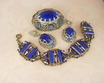 Vintage Czech Enamel Bracelet Brooch and earrings FABULOUS blue SET