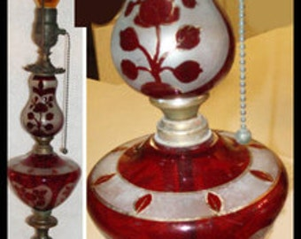 Antique bohemian  cranberry glass tall pull chain lamp