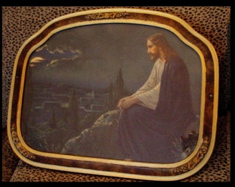 Vintage Religous DECO Jesus  ornate Framed Jesus on the MOUNT
