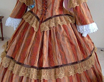 FOR ORDERS ONLY - Custom Made - 1800s Victorian Dress - 1860s Civil War Day Gown - Flounced Skirt Bodice Reenactor 1857 Tea