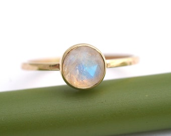 Rose Cut Rainbow Moonstone Bloom In Gold - Modern Stacking Ring