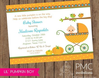 Little Boy Pumpkin Baby Shower Invitations - 1.00 each with envelope
