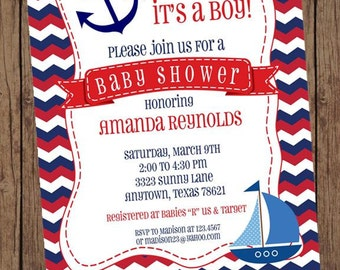 Chevron Red White Blue Nautical Baby Shower Invitations - 1.00 each with envelope