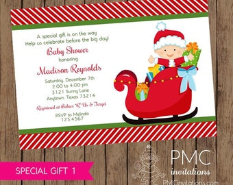 Christmas Baby Shower Invitations - 1.00 each with envelope