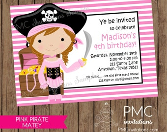 Custom Girl Pirate Birthday Invitations - 1.00 each with envelope