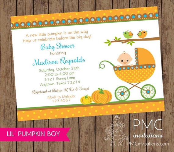 little boy pumpkin baby shower invitations each with envelope