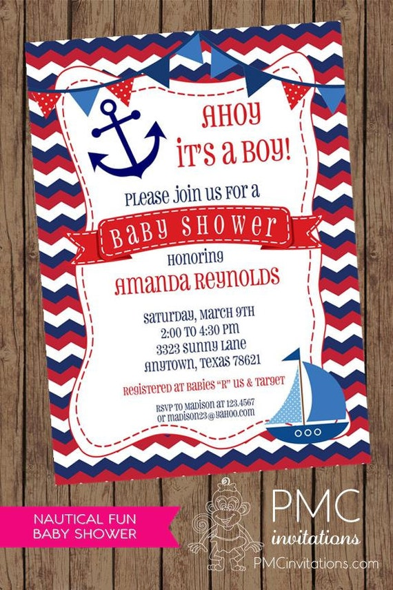 Chevron Red White Blue Nautical Baby Shower Invitations - 1.00 each ...