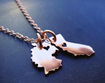 Double Micro State or Country Pendant Necklace in Copper Personalize the Location of the Hearts or Stars
