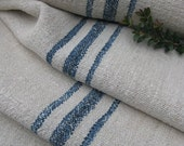 antique hemp linen FADED INDIGO 7.65y rural upholstery cushion upholstery fabric 21.59wide
