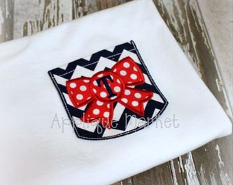 Machine Embroidery Design Applique Appli-Pocket 2 Square with Bow INSTANT DOWNLOAD