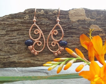 Butterfly Wing Earrings - Lapis Lazuli rondelle and copper