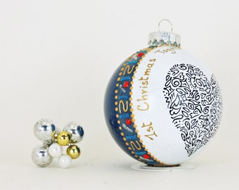 First Christmas Together ornament - Hand painted personalized glass ball