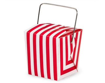 """6 Red Stripe Mini Take Out Box or Pail for Treats, Packaging & Gift Wrap . 1-5/8"""" x 1-5/8"""" x 2"""""""