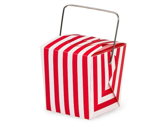 Red Chinese Take Out Favor Boxes : Red stripe mini take out box or pail for treats packaging