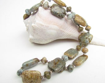 Beaded Necklace, Semi-precious Stone Necklace, African Green Opal,  sage green and tan,Handmade by Harleypaws, Artisan made, SRAJD, OOAK
