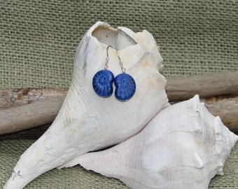 Blue Nautilus Shell Beaded Earrings, Handmade by Harleypaws