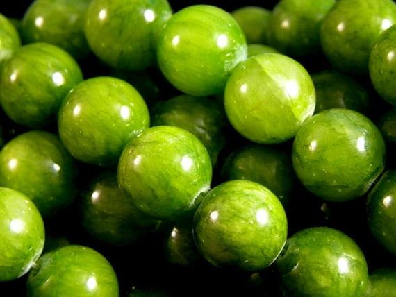 10mm Yellow Green Round Jade Beads, half strand (20pcs)