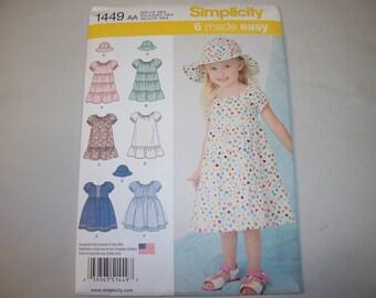 New Simplicity Girl's Dress  Pattern, 1449 AA (1/2, 1, 2)  (Free US Shipping)