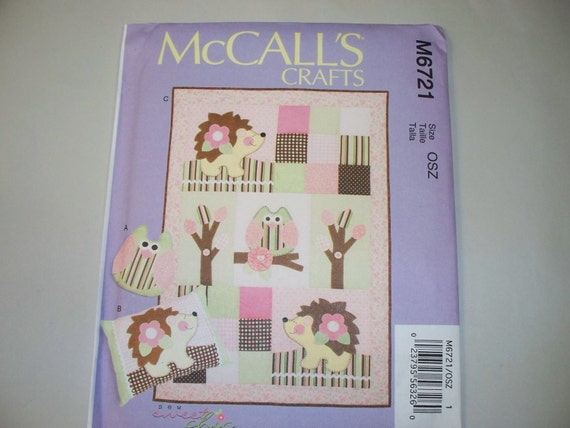 Baby Quilt Patterns Mccalls : New McCall s Baby Quilt and pillow Pattern M6721 Free