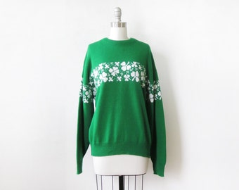 green shamrock sweater, vintage St. Patrick's Day sweater, 1980s Irish sweater, pullover knit four leaf clover jumper, 80s unisex sweater