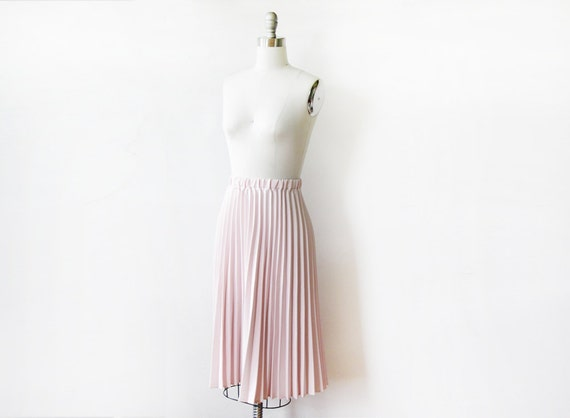 light pink pleated skirt vintage 80s dusty by