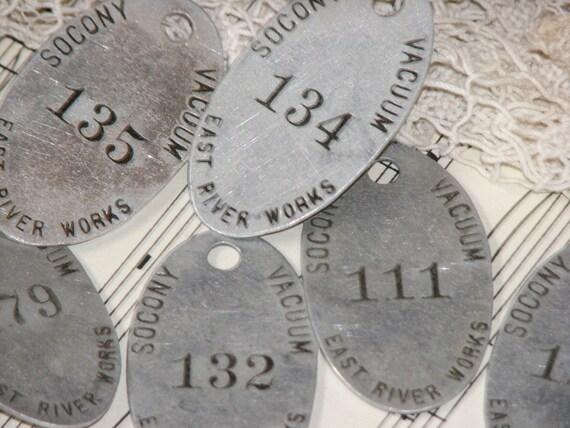1 - Vintage Aluminum Socony-Vacuum Oil Company Numbered Tag