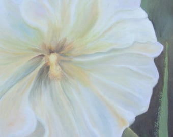 Hollyhock Painting, Framed Hollyhock Painting, Original 12 X 16 inch oil painting, Creamy White Yellow Hollyhock Painting