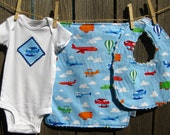 Planes, Blimps and Balloons --- Baby gift set with onesie, bib, burp cloth - available in size Newborn - 24 months