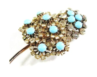 50s Rhinestone Pin Vintage Turquoise & Clear Stemmed Leaf Flower Aqua Glass Cabochon + Crystal Gold Tone Lapel, Hat, Dress Brooch, Large 3""