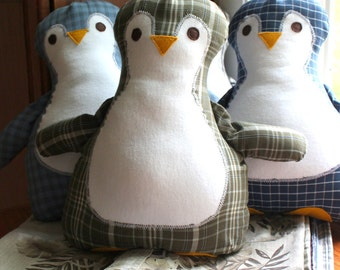 Custom Memory Pillow -  Penguin Pillow - Made from Your Memory Clothes