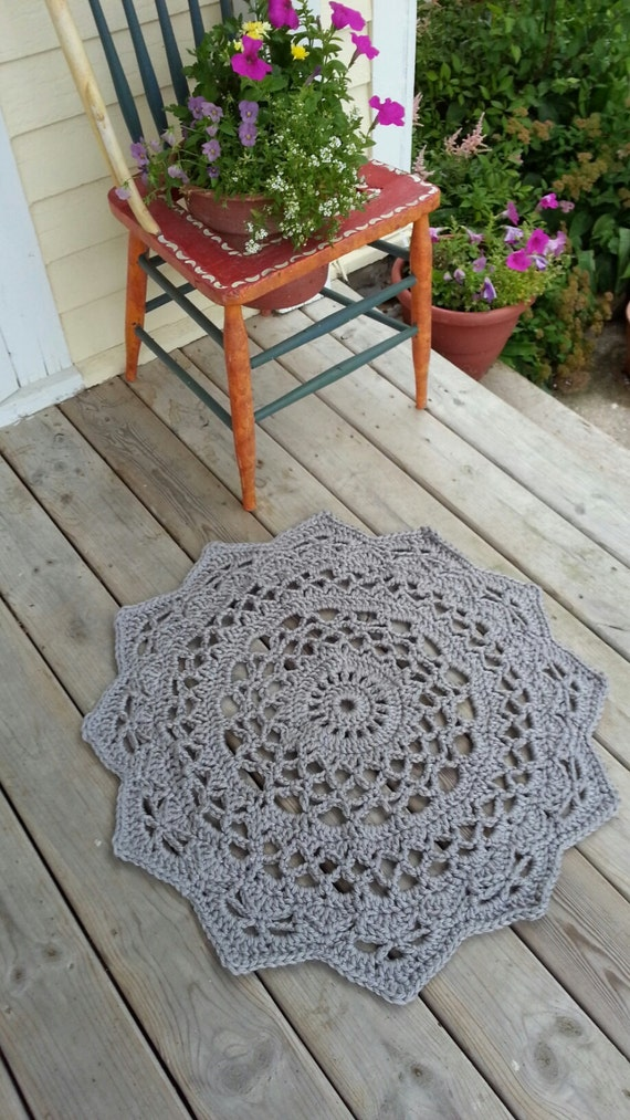 items similar to crochet doily rug french country lace round rug home decor accent rug. Black Bedroom Furniture Sets. Home Design Ideas