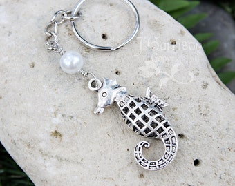 Large Seahorse & Pearl keychain - keyring with silver tone 3D fish and Swarovski crystal pearl - ocean beach marine - free shipping USA