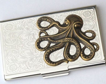 Steampunk Business Card Case Brass Octopus Card Case Vintage Inspired Silver Card Case Nautical Gothic Victorian Featured In British GQ