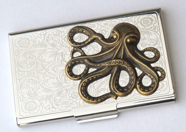 Steampunk business card case brass octopus card case vintage for Steampunk business card holder