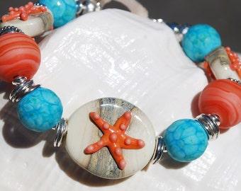 OCEAN BREEZE--Handmade Lampwork and Sterling Silver Bracelet