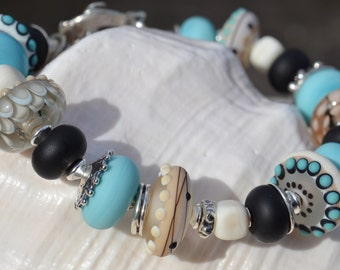 SOLACE-Handmade Lampwork and Sterling Silver Bracelet