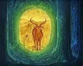 Hidden Passage - 11 x 14 Art Print of the Original Oil Pastel Etching