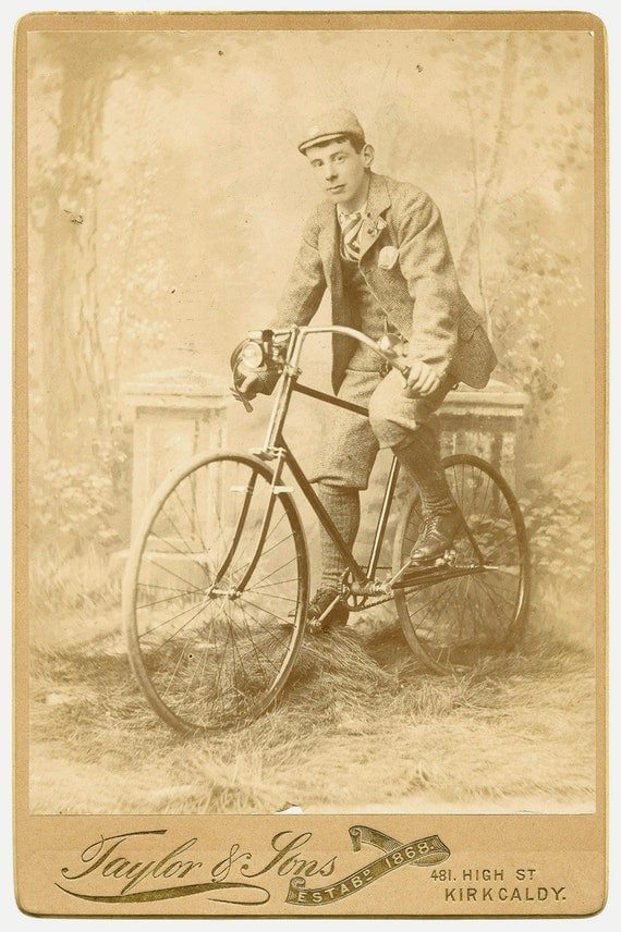 Bicycle w/ Headlight and Rider Kirkcaldy Scotland Cabinet Card