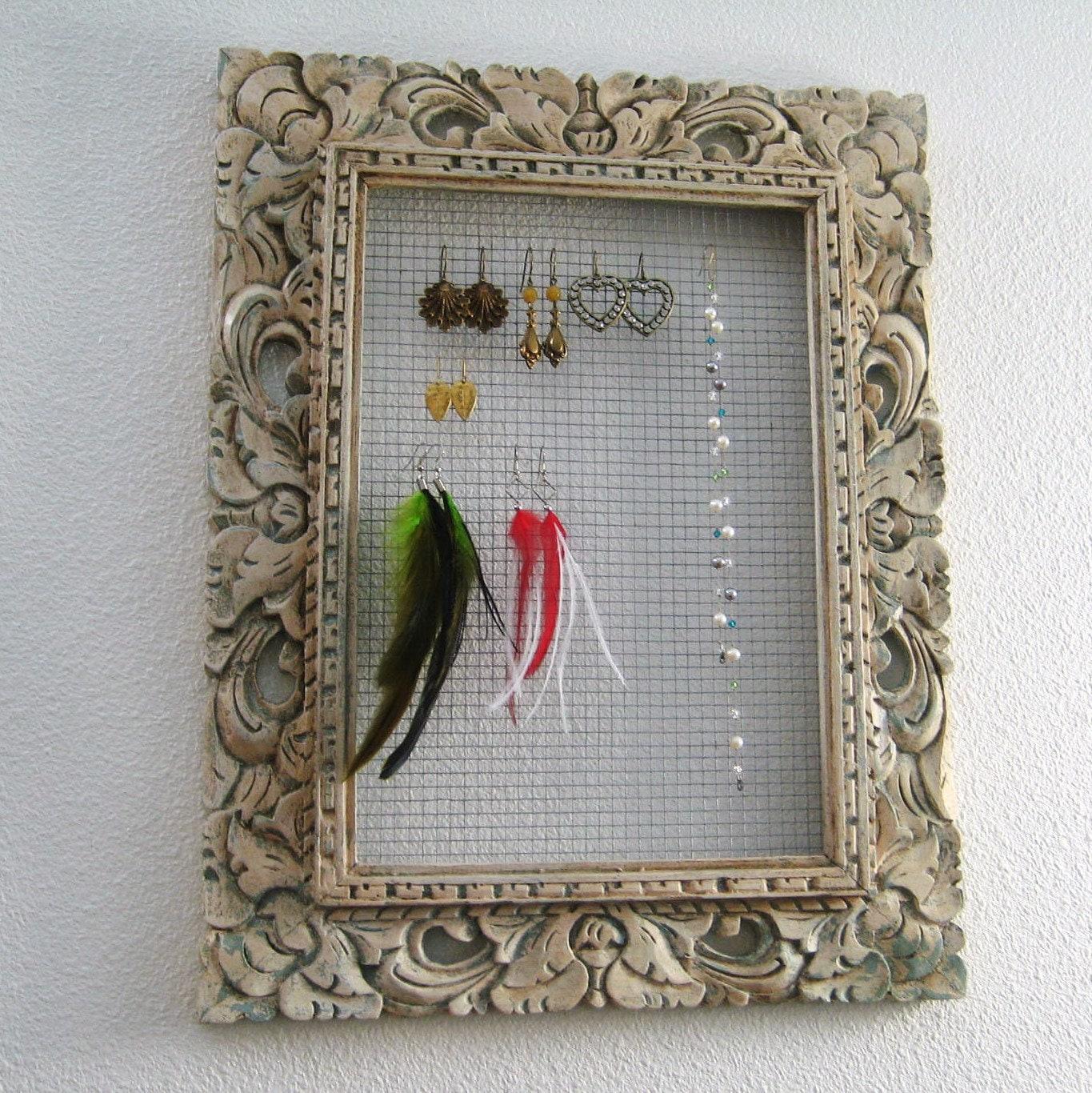 Custom Jewelry Display Frame: Jewelry Display Frame Rustic Earring Holder Organizer Upcycled